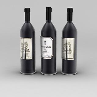 红酒3d模型3d模型