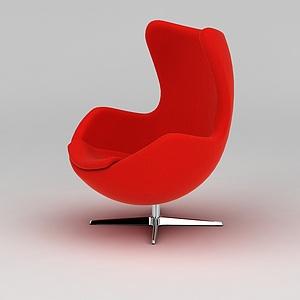紅色休閑轉椅模型
