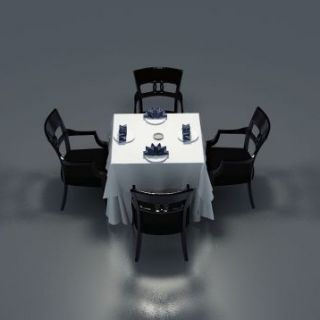 四人餐桌椅组合3d模型