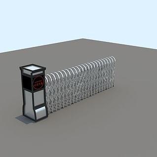 电动伸缩门3d模型