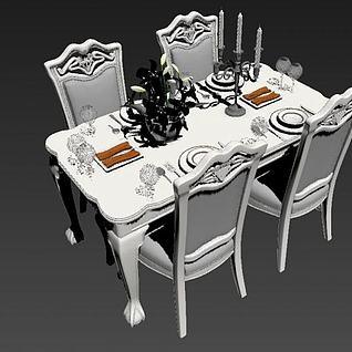 欧式餐桌椅3d模型