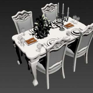 欧式<font class='myIsRed'>餐桌</font>椅3d模型