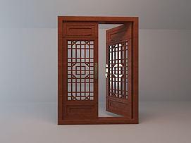 中式木质古窗模型