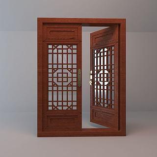 中式木质古窗3d模型