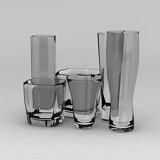 透明玻璃杯3d模型