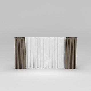 布艺窗帘3d模型