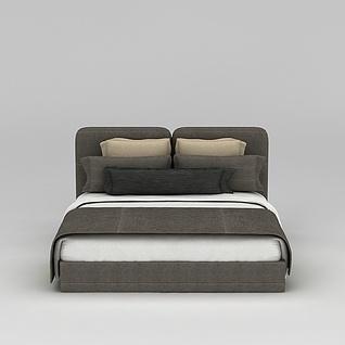现代软包床3d模型