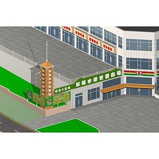 农贸市场3d模型