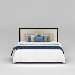酒店客房床3d模型