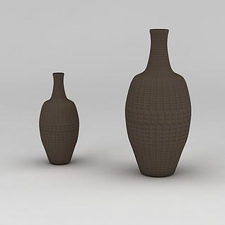棕色装饰花瓶3d模型