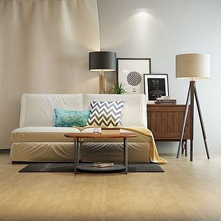 现代沙发落地灯组合3d模型