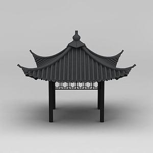 3d四角亭模型