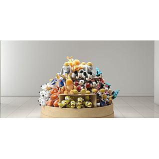 商场玩偶货柜3d模型
