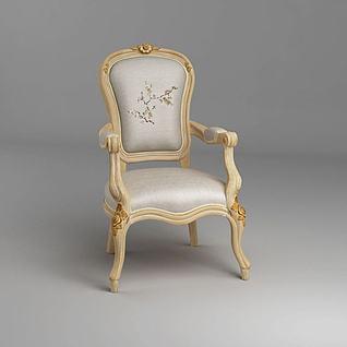 法式雕花椅子3d模型