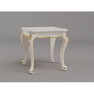 法式梳妆凳3d模型