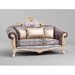 豪华法式双人沙发3d模型