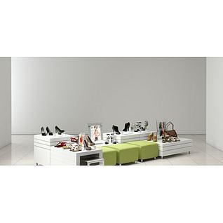 鞋店展示货柜3d模型