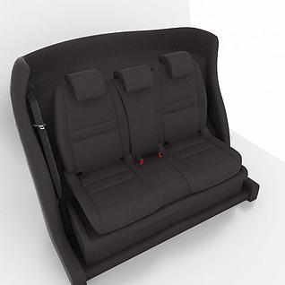 黑色汽车座椅3d模型