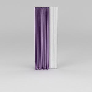 紫色窗帘模型