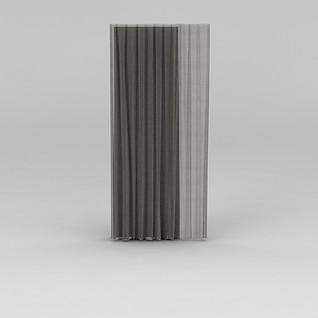 灰色布艺窗帘3d模型