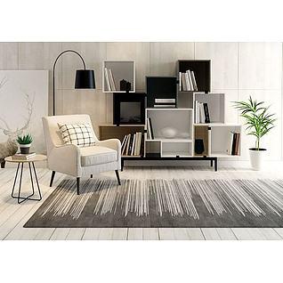 现代沙发书柜组合3d模型