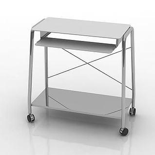 带轮子电脑桌3d模型