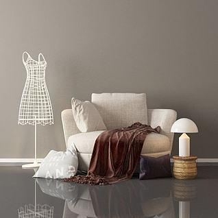 简约单人沙发陈设品组合3d模型