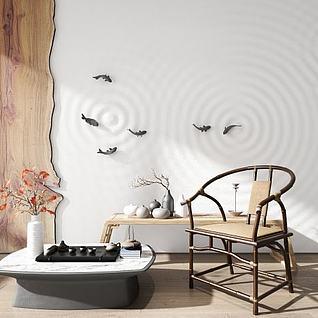 中式圈椅软装组合3d模型