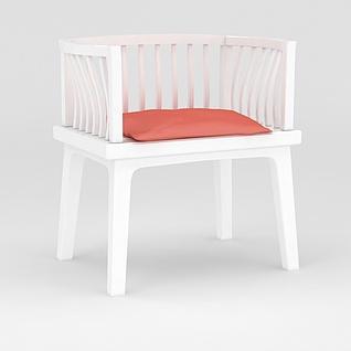 白色木椅3d模型