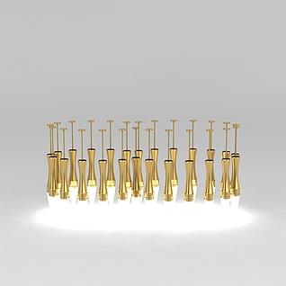 金色吊灯3d模型