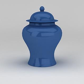 蓝色坛子3d模型