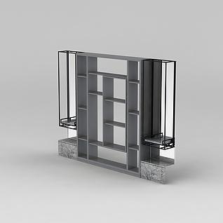 客厅陈列架3d模型