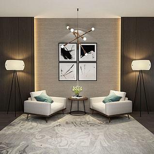 现代单人沙发边几组合3d模型