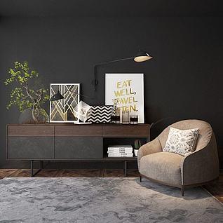 简约单人沙发边柜组合3d模型