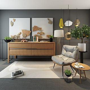 单人沙发边柜组合3d模型