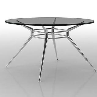 时尚玻璃圆桌3d模型