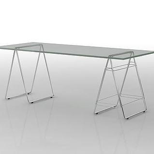 长方形玻璃桌3d模型