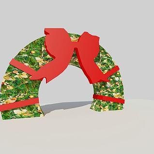 蝴蝶造型圣诞拱门3d模型