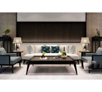 现代中式沙发茶几组合