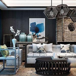 中式沙发椅子茶几组合模型