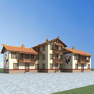 彝族民居模型3d模型
