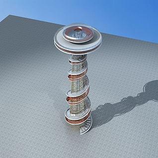 现代观光塔3d模型