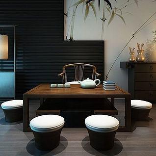 新中式茶室茶几3d模型