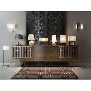 新中式电视柜灯具组合3d模型