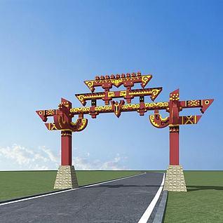 彝族大门3d模型