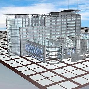 3d玻璃<font class='myIsRed'>大楼</font>模型