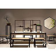 中式书桌椅组合3D模型3d模型