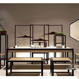 中式书桌椅组合3d模型