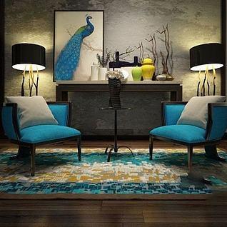 新中式单人沙发落地灯组合3d模型