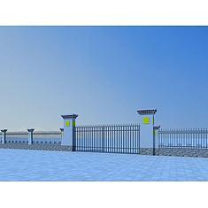 藏式大门和围墙3D模型3d模型